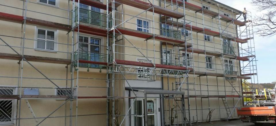 Einrüstung eines Hauses auf der Insel Rügen